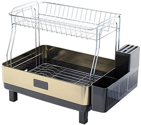 compact frame dish rack double layer stainless steel plate dish drainer  tray  cutlery