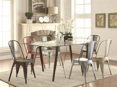 105611 bellevue 5pc dining set by coaster w metal legs