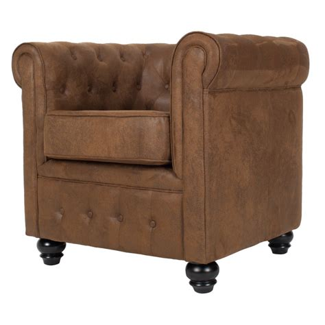 fauteuil chesterfield en microfibre aspect cuir vieilli marron westfield