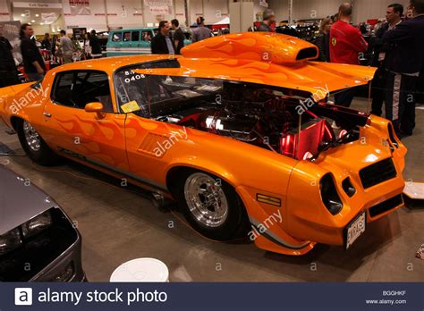 Custom Vintage Classic American Retro Cars On Display At A
