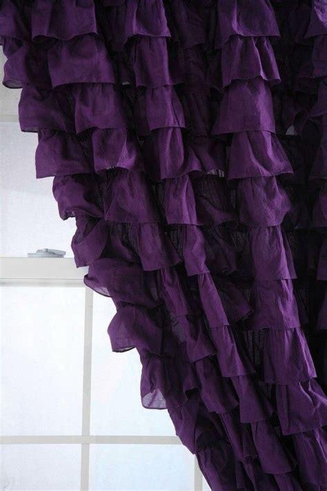 purple ruffle blackout curtains purple ruffled curtains yellow purple