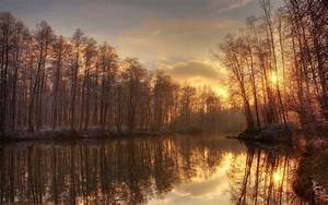 Landscapes trees bank reflection water sky clouds sunset ...