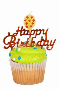 Green Birthday Cupcake With Balloon Candle Stock Photo ...