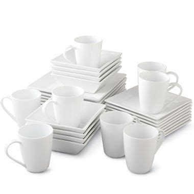 cooks  pc white square dinnerware set jcpenney
