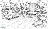 Garden Sketch Perspective Draw Drawing Sketches Vertical Landscape Patio Creation Waterfall Yard Sketching Landscaping Plans Deck Architecture Waterfalls Plant sketch template
