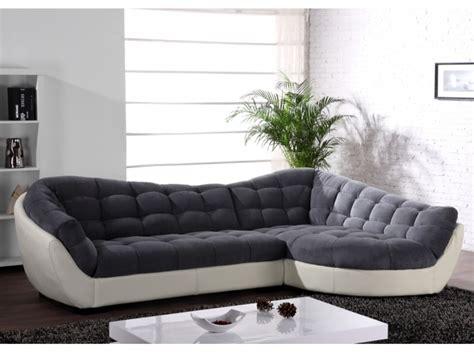 canapé d angle mistergooddeal canapé angle tissu et cuir 3 coloris bicolores leandro