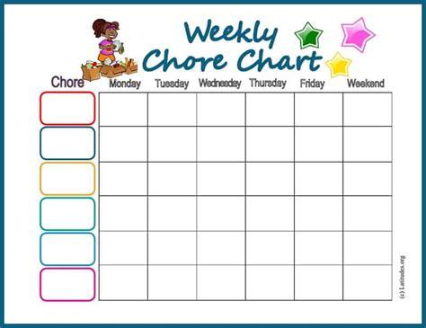 weekly chore chart free chore chart my weekly acn latitudes