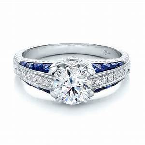 diamond and blue sapphire engagement ring 100390 bellevue With blue sapphire and diamond wedding rings