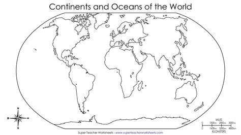 continents   world worksheets  basic world map