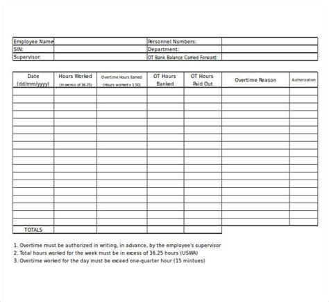 overtime worksheet templates   ms word excel
