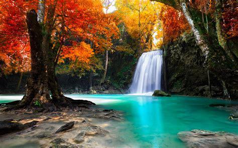 Waterfall In Kanjanaburi Thailand Landscapes Wallpaper