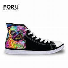 Forudesigns Women High Top Canvas Shoes Colorful Pet Dog