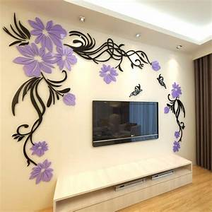 3D Wall Stickers Home Decor Big Rose Tree Crystal Wall ...