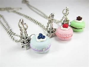 BFF Paris Macaron Necklace Friendship Necklace 3x food jewelry