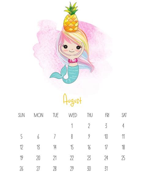 printable  kawaii mermaid calendar  cottage