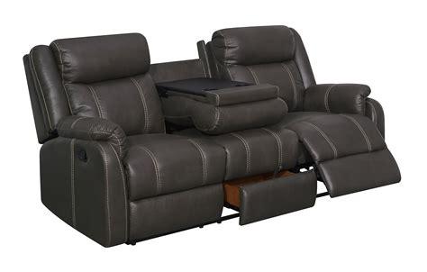 U7303c Charcoal Printed Fabric Reclining Sofa Wddt & Dr