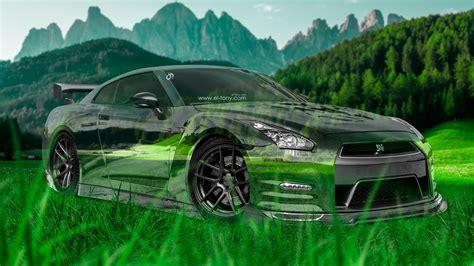 Nissan-gtr-r35-jdm-3d-crystal-nature-car-2015-green-grass