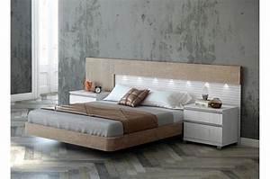 Lit adulte design avec chevets trendymobiliercom for Chambre à coucher adulte avec www meilleur matelas fr