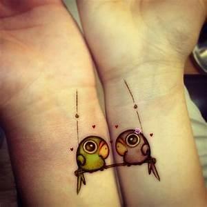Cute Parrots Wrist Tattoo Designs | Tattoo Love