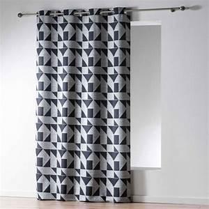 Rideau Noir Et Gris : rideau tamisant noir rideau et voilage eminza ~ Melissatoandfro.com Idées de Décoration