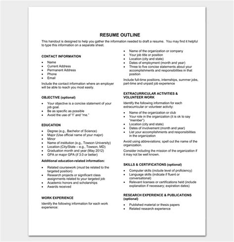 Resume Outline Word by Resume Outline Template 19 For Word And Pdf Format