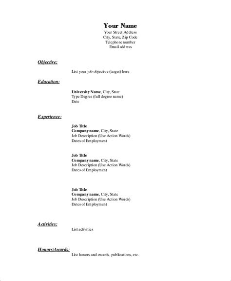 Basic Resume Exles For by Basic Resume Exle 8 Sles In Word Pdf