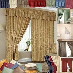 Cheap, Lined, Ready, Made, Curtains, -, Matching, Pelmets, U0026, Tie, Backs