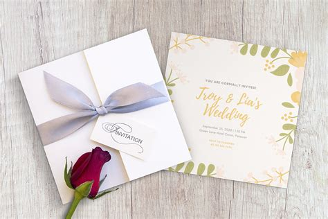 square wedding invitation card  wood table mockup