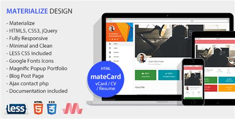 materialize templates matecard materialize vcard cv resume html template nulled themes