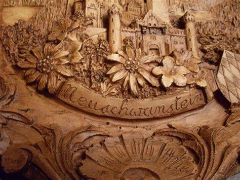 vintage german carved wooden  plate neuschwanstein