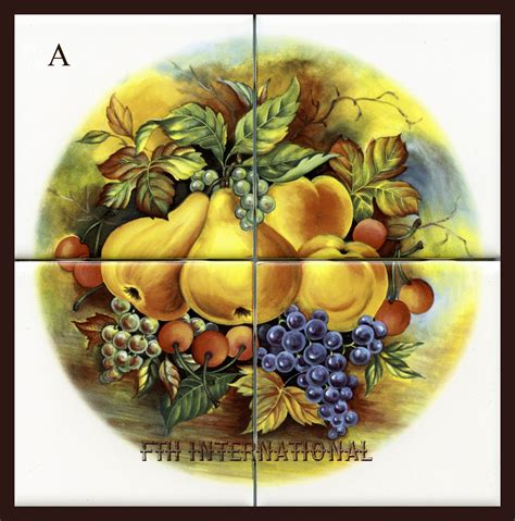 mural 4 inch mixed fruit a ceramic 4 tile mural k09a