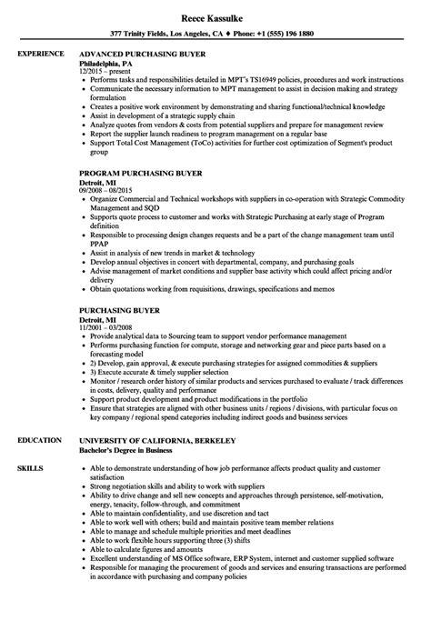 Buyer Resume by Purchasing Buyer Resume Sles Velvet