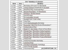 2017 List of Holidays, West Bengal Public Holidays 2017