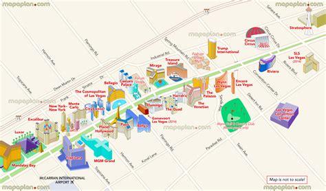 las vegas map map  main strip hotels showing