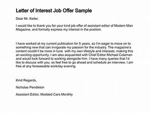 Sample letter interest job position sample business letter for Sample cover letter of interest for employment