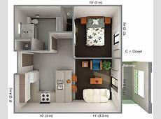 International House 1 Bedroom Floor Plan Top View