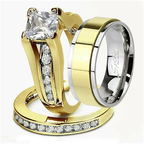 his hers 3 piece men s women s 14k gold plated wedding engagement rings band ebay