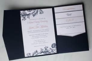 navy wedding invitations pink and navy blue floral print pocketfold wedding invitations booklet programs emdotzee designs