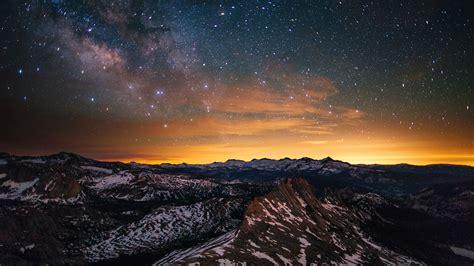 优山美地,雪,山,星星,天空,4K,高清,桌面预览   10wallpaper.com