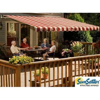 motorized xl retractable awning  woven acrylic fabric