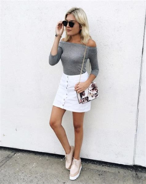 Fashionable white denim skirt outfits ideas 5 - Fashion Best