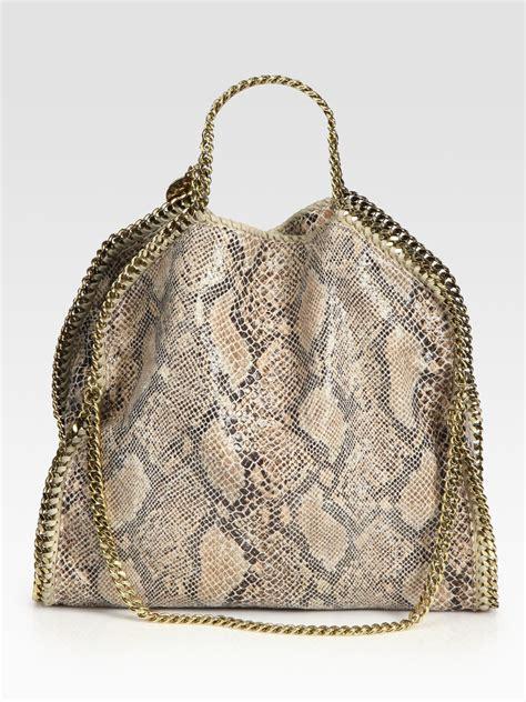 lyst stella mccartney snake printed linen falabella foldover tote bag
