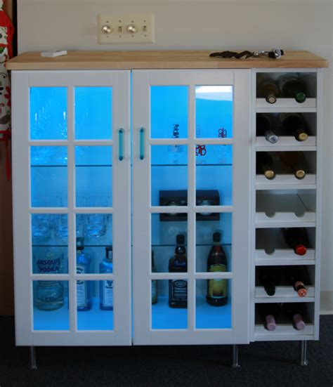 using wall cabinets for bar how to combine ikea items to build your own wine rack