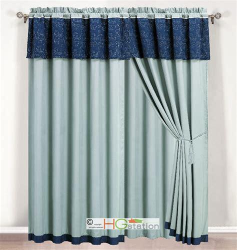 4 p quilt vineyard floral leaves curtain set light blue
