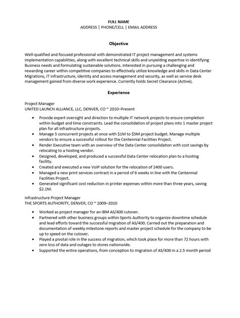 Infrastructure Project Manager Resume India by Free Infrastructure Project Manager Resume Template