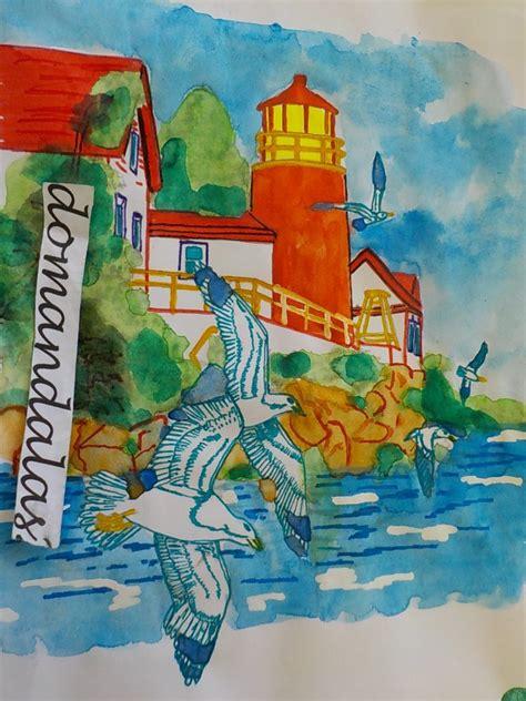 tutorial watercolor marine landscape  domandalas coloring pages  adults