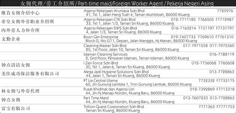 part time maids kluang directory