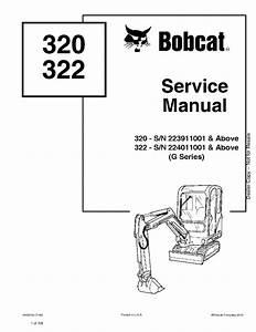 Bobcat 320 322 Excavator Service Manual Pdf Download