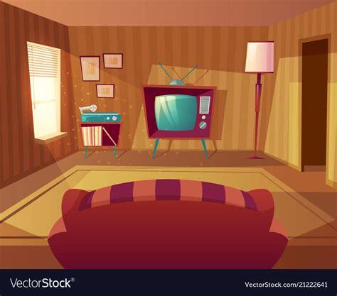 sofa room vector cartoon living room with sofa tv royalty free vector image