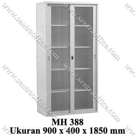 jual lemari arsip tinggi pintu sliding kaca modera type mh